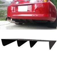 "22"" x 19.3"" ABS Universal Rear Bumper 4 Fins Diffuser Fin Black For Honda Acura"