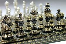 """Collectible 100% Brass Vintage Chess board game set 10"""" with brass pieces/coins."""