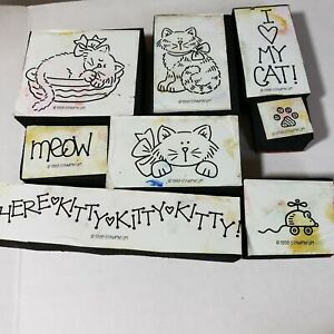 Stampin Up! 1998 I Love My Cat Foam Mounted Rubber Stamps Set of 8