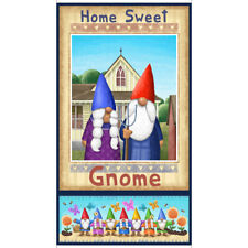Home Sweet Gnome Fabric Panel 100% Quilters Cotton