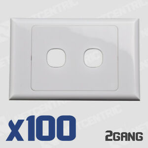 100x 2 Gang Face Plate Wall Cover Electrical Port Jack Clipsal Compatible BULK