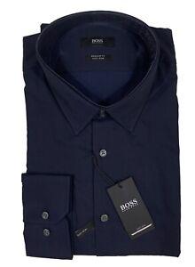 Men's HUGO BOSS Navy Blue Dress Shirt 16 32/33 Regular Fit Easy Iron NWT NEW WoW
