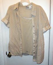 New! Route 66 . 2PC. Tan semi-sheer button shirt with tank pullover  top size XL