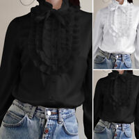 Womens Long Sleeve Top Blouse Office OL Ruffled Frill Tie Front Shirt Plus Size