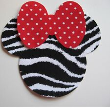 Minnie Mouse Iron On Applique Zebra Print Fabric and Big Bow