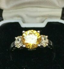 RING 925 SILVER & YELLOW AND CLEAR SPARKLING CUBIC ZIRCONIA STONES STAMPED DQCZ
