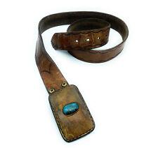 Vintage Southwestern Leather & Turquoise Belt Buckle & Belt - Signed