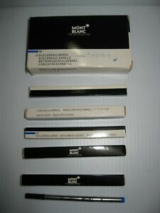 5 Montblanc Rollerball Refills Boxed in Box for 10 M Blue Art No.16300