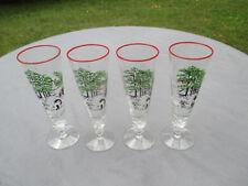 Lot of Four Hand Painted Pilsner Beer Glasses of Pastoral Scene.