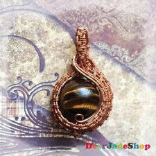 Best Mothers day gift Tiger Eye Stone Copper Wire Wrapped Pendant...By DearJade