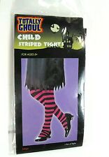 TOTALLY GHOUL Child Halloween Striped Tights 1 pair NEW Large Age 8+ pink black