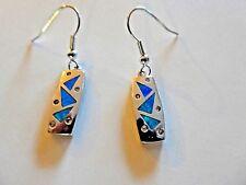 Sterling Silver Fire Opal Drop Dangle Earrings