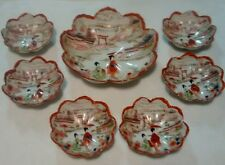 7Pc Red Asian Geisha Wear Handpainted Egg Shell Porcelain Bowl Set