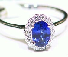 1.3CT 14K Gold Natural Sapphire Round Cut White Diamond Engagement Ring Vintage