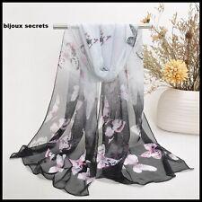foulard écharpe mousseline de soie dégradé blanc gris noir papillons roses