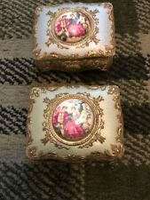 Pair Of Vintage Metal Trinket Boxes With Ceramic Cameo Decoration