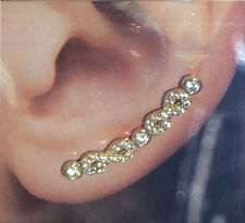 NEW!! 14k Solid YELLOW Gold CZ Infinity Ear Climber Earrings!!