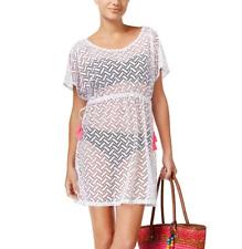 Miken Swim Cover Up Sz L White Pink Cold Shoulder Tassel Crochet I7428K336