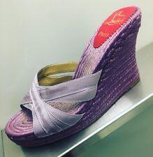 $695 CHRISTIAN LOUBOUTIN Sz 11 Women's High Heel Wedge Espadrilles Purple Shoes