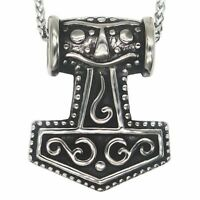 MENDEL Nordic Viking Amulet Thor Hammer Necklace Pendant Stainless Steel Heavy