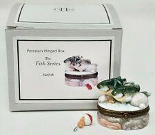 Midwest Cannon Falls Phb Porcelain Trinket Box Fish Series Sunfish Fishing Nip