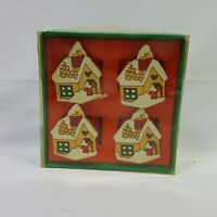 4 Pack Festive Napkin Rings Christmas Holiday Gingerbread House Vintage