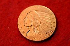1911 Us $5 Gold Inidan Half Eagle Nice Gold Coin! #35