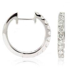14k White Gold Diamond Huggies, 0.65tdw (NEW hoop earrings, 16x2mm) 4468