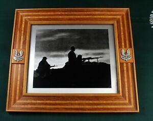 Framed photograph from SAS in Oman DHOFAR rebellion - commander General Akehurst