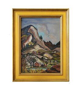 Vintage WPA Era American Modern Mining Townscape Chunky Oil Painting Mid Century