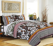 Tribal Motif Paisley King Quilt Set Teal Gold Crimson Velvet Coverlet