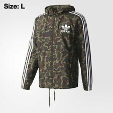 adidas Originals Windbreaker Camo Jacket Hoody Top SIZE L