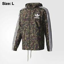 adidas Originals Windbreaker Camo Jacket Hoody Top SIZE L.