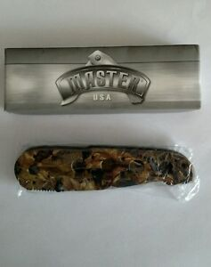 Master USA Folding Liner Lock Camo Knife Stainless Steel Blade NEW in Box