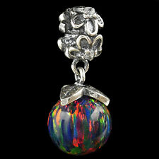 Alducchi Black Rainbow Fire Opal .925 Sterling Silver European Dangle Charm #7
