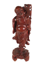 VINTAGE ASIAN JAPANESE WOOD HARDWOOD CARVING SCULPTURE STATUE CARVED HOTEI >9.5""