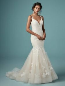 Sexy Fit &Flare Wedding dress Maggie Sottero Ally Ivory/blush Size 12 NWT