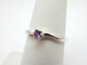 SILVER GENUINE .10 CARAT ROUND AMETHYST SOLITAIRE FASHION RING SIZE: 6