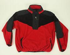 VTG OBERMEYER Ski Pullover Jacket Large Black Red L Fleece 1/2 Zip Padded Men's