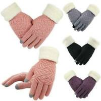 Women Winter Warm Touch Screen Gloves Full Finger Knitted Fleece Lined Gloves AU