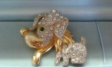 Vintage 1980's large dog brooch with tongue hanging out and green eyes