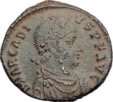 ARCADIUS with Christ Monogram Labarum 392AD AE2 Large Ancient Roman Coin i63475
