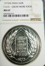 1973 INDIA SILVER 20 RUPEES S20R FAO GROW MORE FOOD NGC MS 67 VERY HIGH GRADE