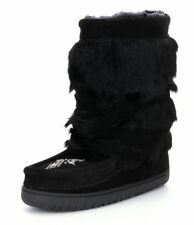 New Manitobah Mukluks Suede Rabbit Fur Half-Wrap Cold-Weather Boots Black Size 6