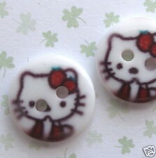 "US SELLER- 40pc x 1/2"" White Kitty Print Plastic Buttons/Hello/Bow/2-Holes SB249"
