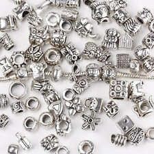 Wholesale Silver Big Hole European Beads Mixed Styles Tibetan Fit Charm Bracelet