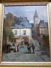 Léonard SAURFELT-c.1840-Tableau ancien-Huile-Le marché-Normandie-cadre-oil