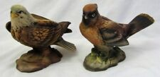 Vintage Lot of 2 LEFTON JAPAN Bird Figurines OM3672 BALD EAGLE & 3625 WAXWING