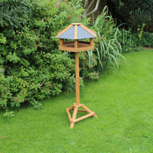 Large Deluxe Slate Roof Bird House Table Hexagonal Outdoor Garden Wooden Station