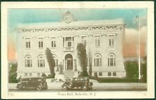 1938 BELLEVILLE N.J. POSTCARD CLOCK TOPPED TOWN HALL, FLAG POLE & AUTOS IN COLOR
